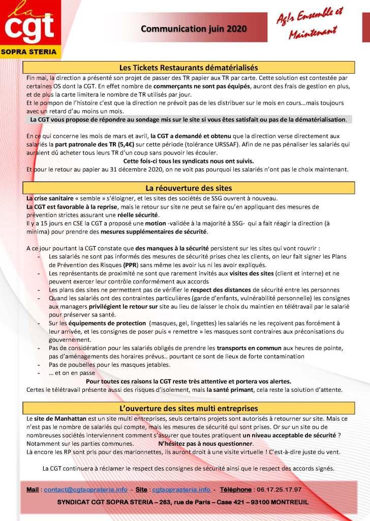 SOPRA-STERIA : Communication CGT syndicale – juin 2020 (2)