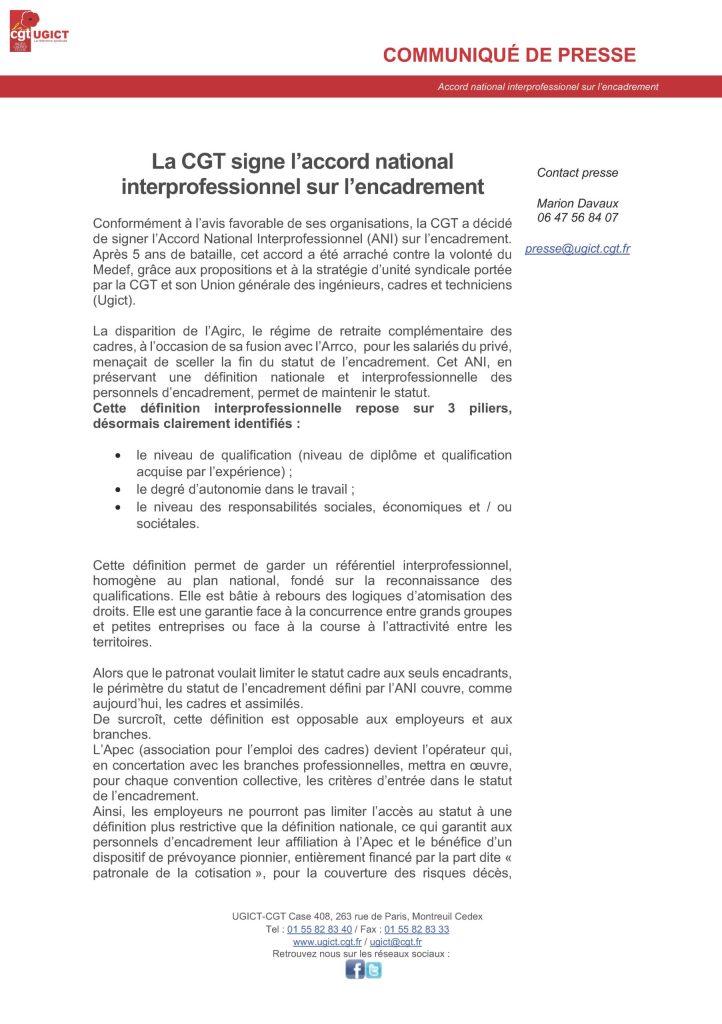 La CGT signe l'accord national interprofessionnel sur l'encadrement