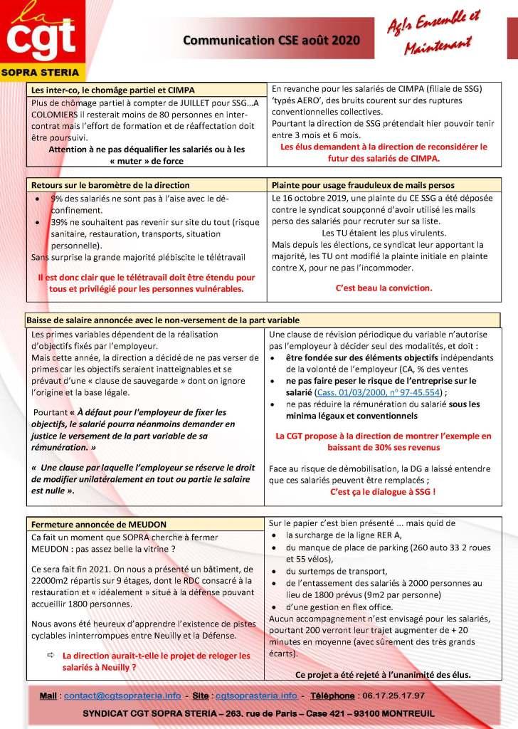 SOPRA-STERIA : Communication CGT CSE – Août 2020