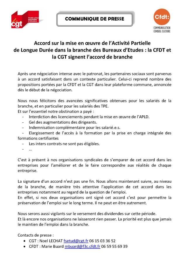 Accord sur la mise en œuvre de l'Activité Partielle de Longue Durée dans la branche des Bureaux d'Etudes : la CFDT et la CGT signent l'accord de branche