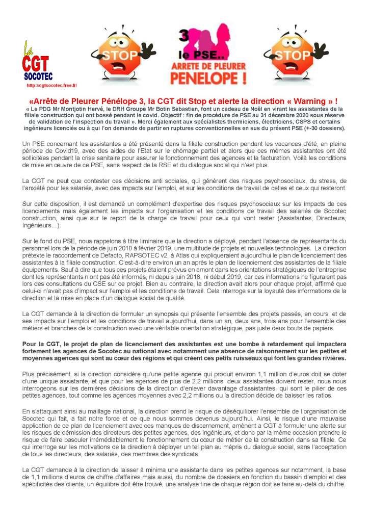 SOCOTEC : « Arrête de Pleurer Pénélope 3, la CGT dit Stop et alerte la direction « Warning » ! »