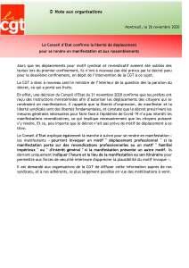 Le Conseil d'Etat confirme la liberté de déplacement pour se rendre en manifestation et aux rassemblements