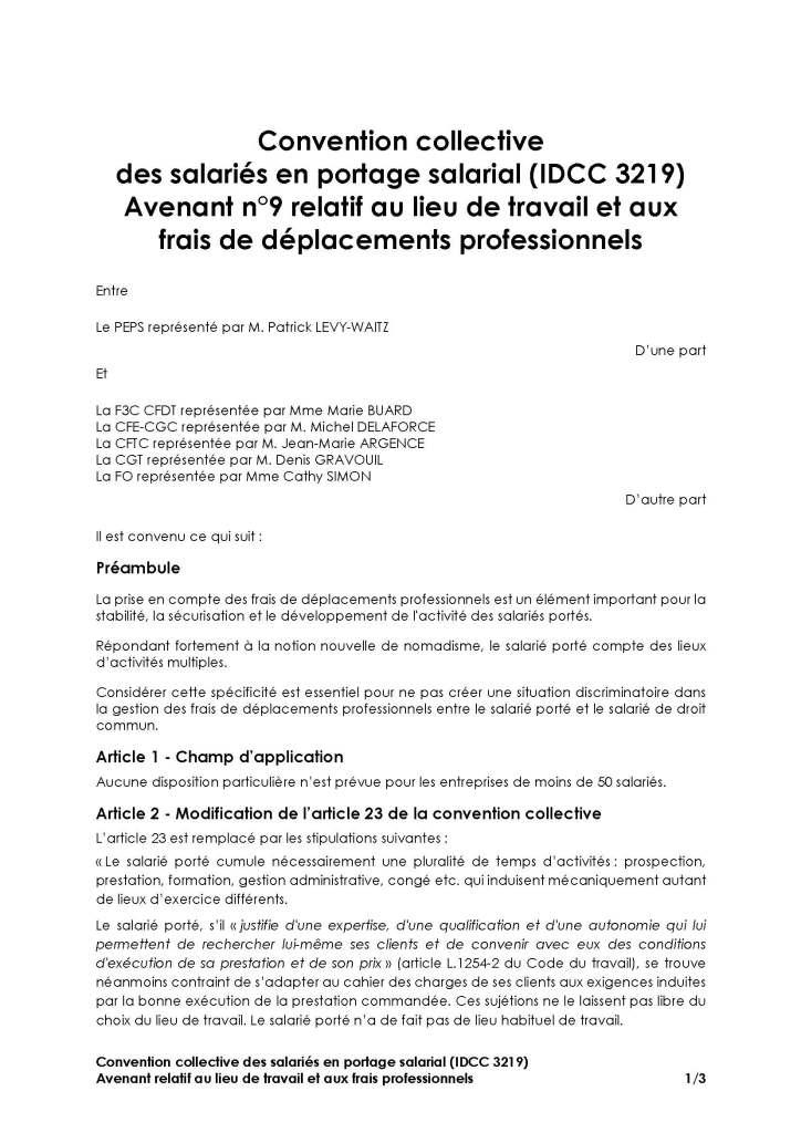Avenant n°9 du 12 novembre 2020 relatif au lieu de travail et aux frais de déplacements professionnels