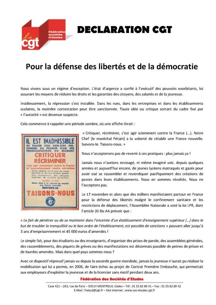 Pour la défense des libertés et de la démocratie