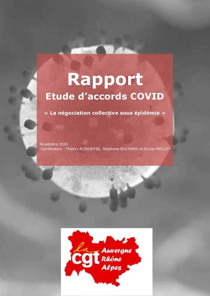 """Rapport Etude d'accords COVID """"La négociation collective sous épidémie"""""""