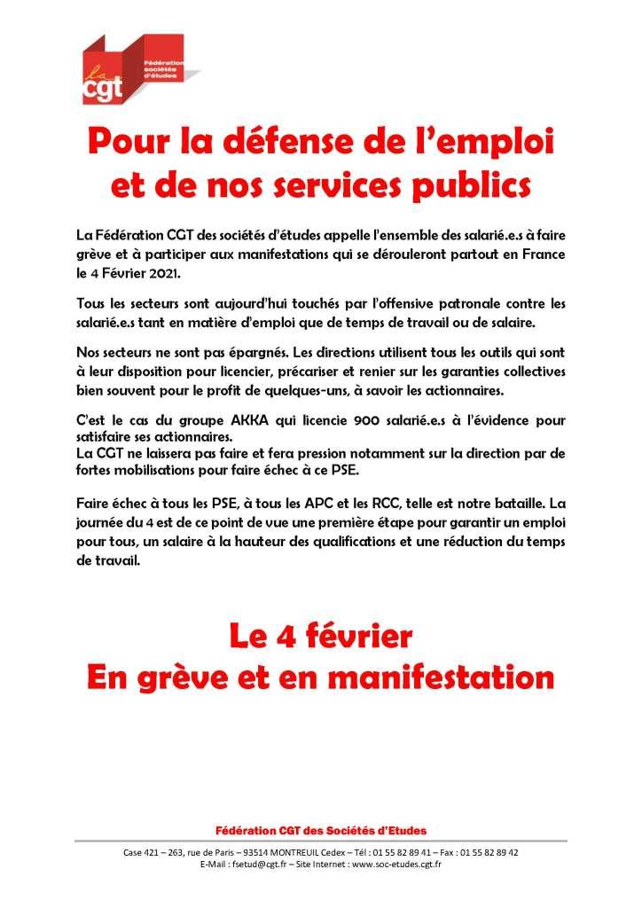 Pour la défense de l'emploi et de nos services publics