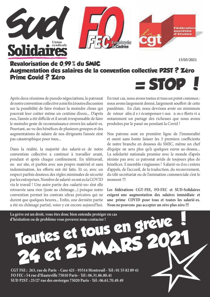 Revalorisation de 0,99% du SMIC + Augmentation des salaires de la convention collective P2ST ? Zéro + Prime Covid ? Zéro = STOP !