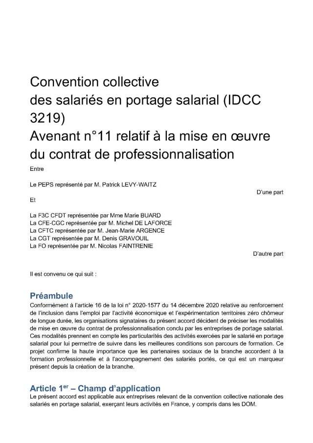 Avenant n°11 relatif à la mise en œuvre du contrat de professionnalisation de la convention collective nationale des salariés en portage salarial