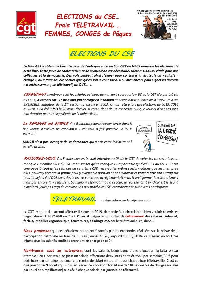 VWIS : ELECTIONS du CSE… Frais TELETRAVAIL … FEMMES, CONGES de Pâques