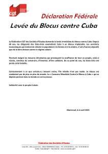 Levée du Blocus contre Cuba