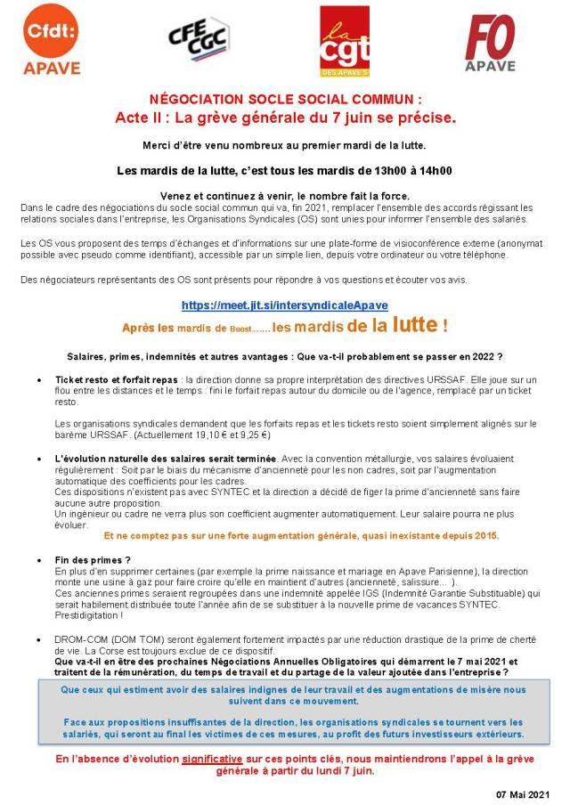 APAVE : Négociations Socle Social Commun : Acte II : La grève générale du 7 juin se précise.