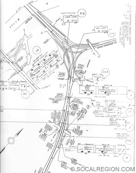 Sign plans from 1965 showing the removal of all the US routes except US 101 on the Santa Ana Freeway from Route 10 to I-5.