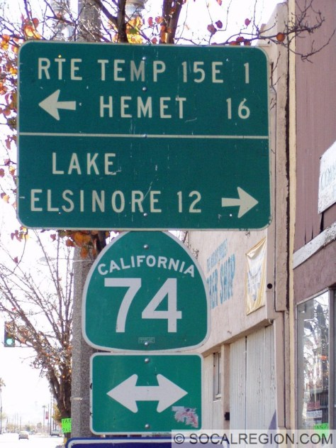 Old sign for Temp I-15E in Perris at Hwy 74 and D St. I-15E became the 215 in the 1980's. The sign has since been replaced.