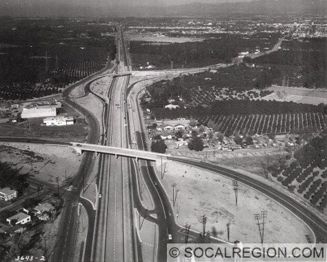 View of the Santa Ana Freeway in the late 1950's at Katella Ave. Second interchange is Anaheim Blvd, a former routing of US 101.