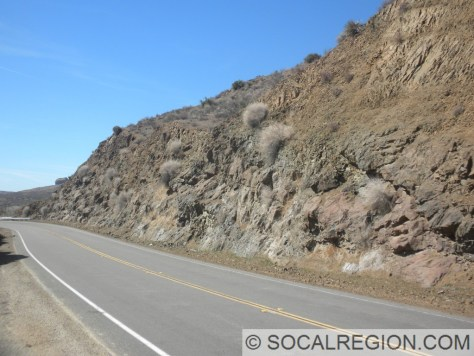 View of basalt outcroppings along Soledad Canyon Road near the eastern Santa Clara River bridge.