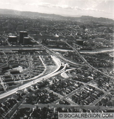 San Bernardino Split in 1948. Santa Ana Freeway comes from the left and heads towards the tanks in the distance. The San Bernardino Freeway is on the right.