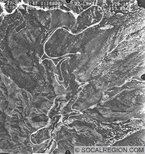 Aerial Photograph showing the partly constructed realignments of Hwy 39. Crystal Lake is at the top of the photo.