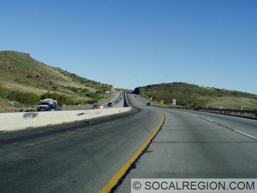 Northbound view just after the Pearblossom Highway / Sierra Highway exit.