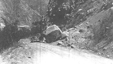 1952: Earthquake damage. This is the nearly the same location as a 1984 slide during Caltrans reconstruction that closed the road for over three months.