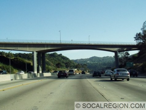 The Mulholland Bridge over the 405 at the top of Sepulveda Pass. View is southbound.