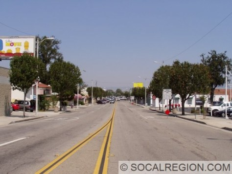 Downtown Newhall from 5th Street looking north.