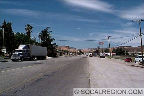 Castaic Road through Castaic. Looking North.