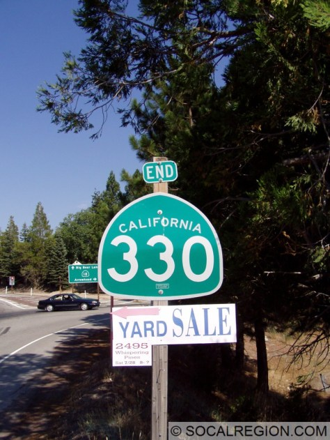 End signage for 330. The END marker is normally used for a bike route.