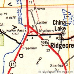 1966 map showing both alignments of US 395 in the Ridgecrest area. The gray road through Leliter and Brown is the original alignment of US 395. State Highway 14 runs along old US 6.