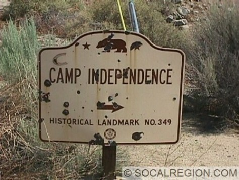 1950's Division of Highways sign marking Camp Independence.