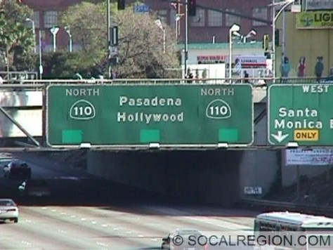 Some of the control cities on this freeway are rather unusual. Route 110 doesn't go to Hollywood but does go to Pasadena. This is also one of the few signs giving Hollywood as a control point in the Los Angeles area.