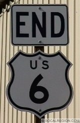 END sign for US 6 at the US 395 junction.