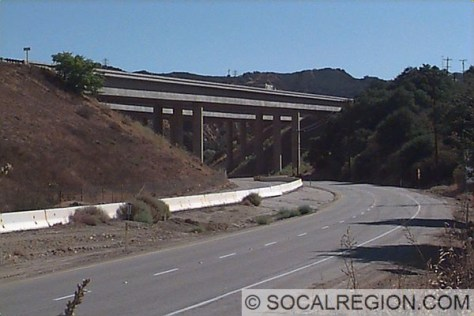 Shown here, I-5 crosses the Old Road in Gavin Canyon. In 1994, these bridges partially collapsed during an earthquake and have been subsequently rebuilt.