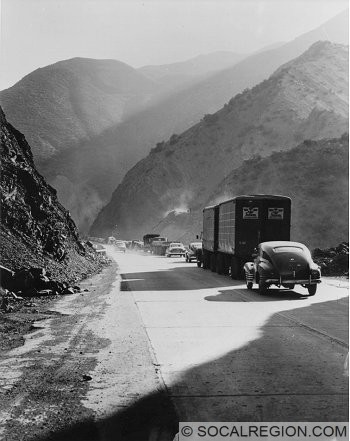 Looking South along US 99. The construction work is for the widening of the highway. Taken about 1950. Photo Courtesy - Caltrans.