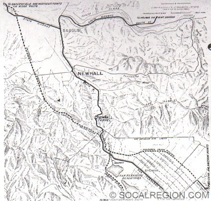 Map of the Proposed Newhall Alternate in 1928.