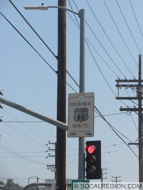 Historic US 66 signage on Figueroa St placed by the City of Los Angeles.