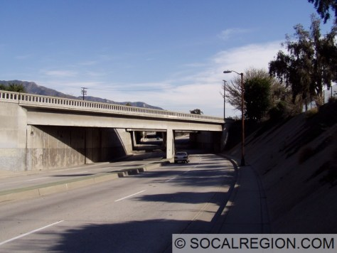 San Fernando Road Overcrossing and railroad overhead.