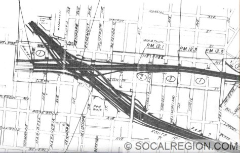 "Interchange as shown on 1974 Caltrans Right of Way maps. This was the last design for the interchange. Note how the interchange is now north of the ""built"" interchange at Vermont Ave."
