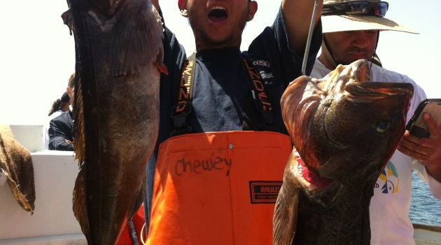 Deckhand Chris Isaac with the biggest of 20 lings caught last Sunday
