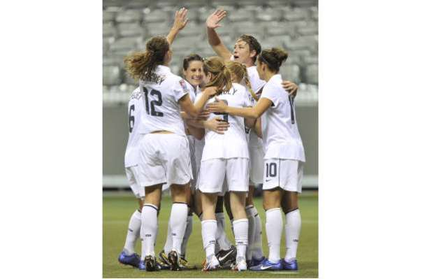 Here's the USA celebrating their third goal of the game versus the Dominican Republic in 2012 Olympic Qualifying. This was in the seventh minute of the match a match they would win 14-0