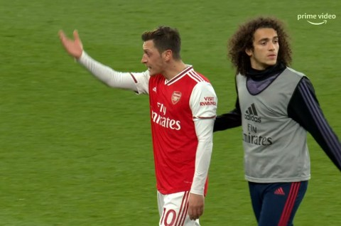 Mesut Ozil shouting after Arsenal defeat