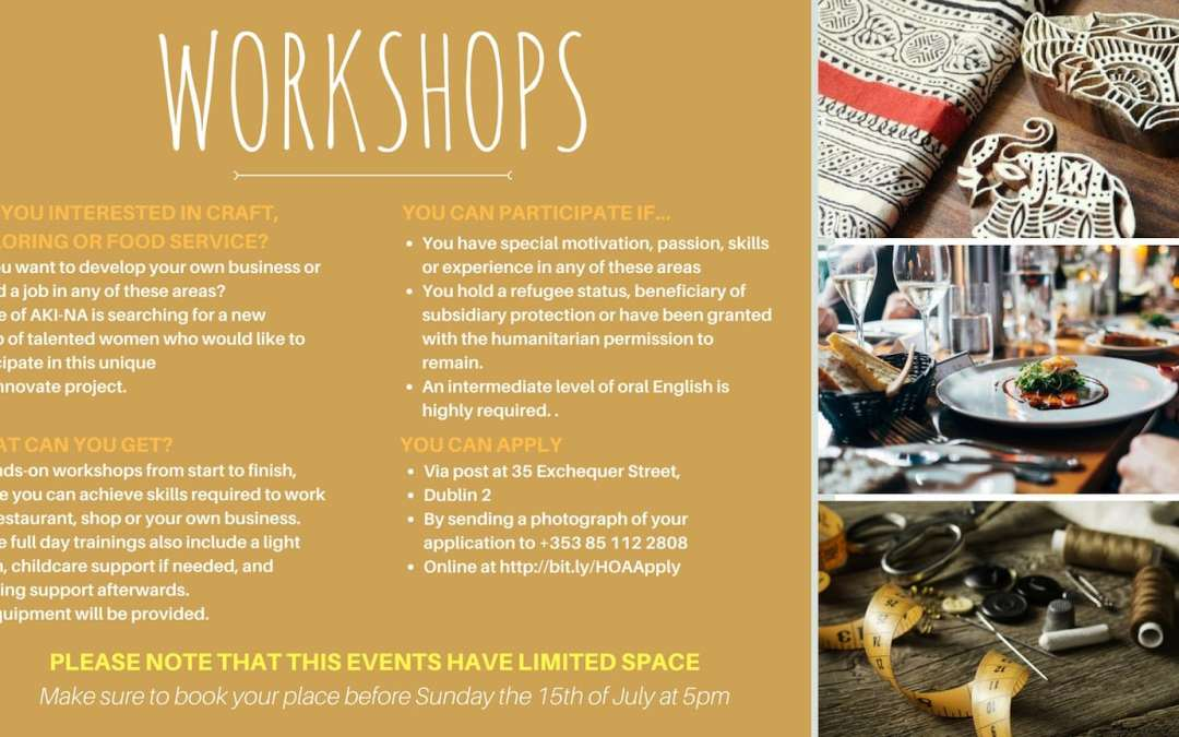 FREE TAILORING, CRAFT AND FOOD SERVICE TRAINING FOR REFUGEE WOMEN!!