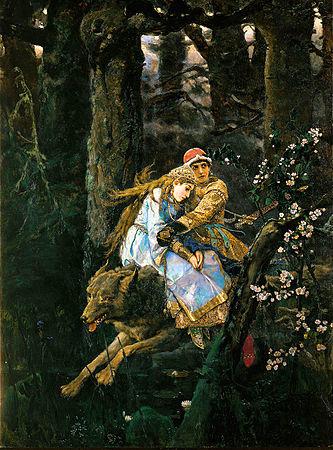 Иван Царевич с Еленой Прекрасной верхом на Сером волке