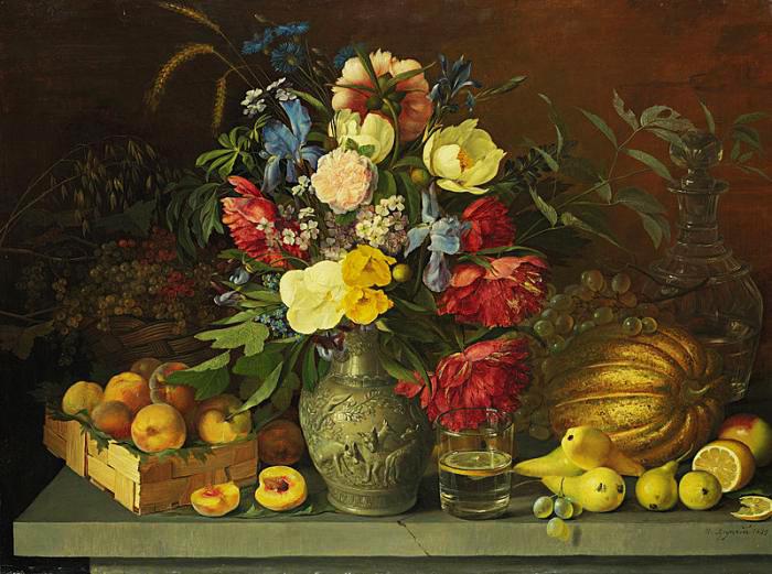 натюрморт с букетом цветов и фруктами