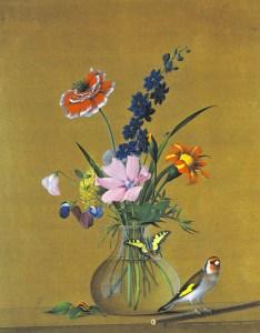 букет цветов, бабочка, птичка, гусеница и муха
