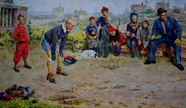 вратарь и другие ребята на пустыре играют в футбол