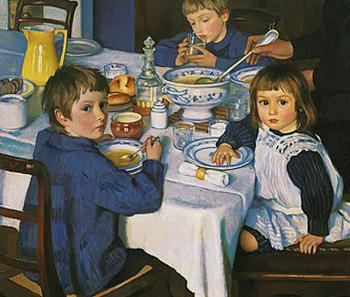 девочка и два мальчика за обедом