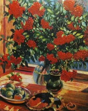 яркие дары осени в виде рябины, подсолнечника и яблок