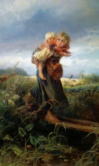 деревенские дети бегущие от грозы домой