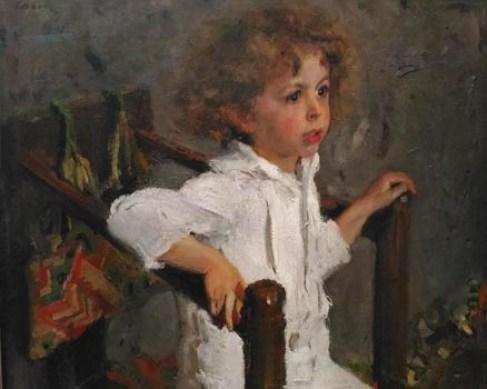 портрет Мики Морозова на картине Серова