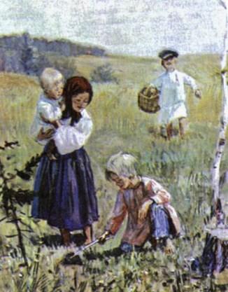 крестьянские дети возвращаются из леса домой на картине Шмаринова